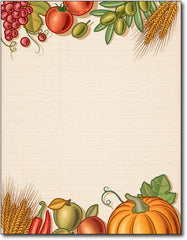 "Fall Harvest table thanksgiving Stationery Paper, measures 8 1/2"" x 11"", compatible with inkjet and laser"