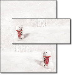 Snowman in Red Scarf Letterhead & Envelopes -  40 Sets, compatible with inkjet and laser