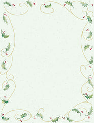 Holiday Letterhead -Holly Bunch - (Matte: 60lb Text)