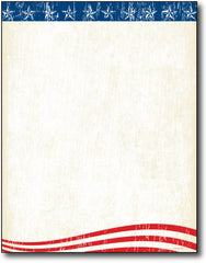 Faded Glory Letterhead Paper featuring an american flag design