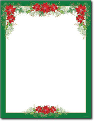 "50lb Poinsettia Valance Letterhead Sheets, measure (8 1/2"" x 11"") , compatible with copier and laser"