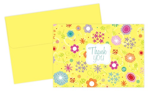 Spring Flowers Thank You Note Cards & Envelopes Set