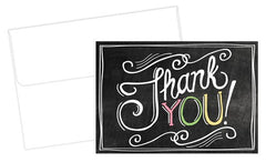 "Chalkboard Thank You Cards feautre the phrase ""Thank You"" in a hand-written style on a chalkboard like background"