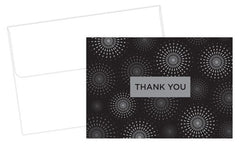 "Grad Fireworks Graduation Thank You Note Cards feature Silver Foil Bursts over a black background and the phrase ""Thank You"""