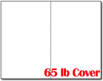 "65lb White Bifold Brochures  measure 5.5"" x 8.5""."