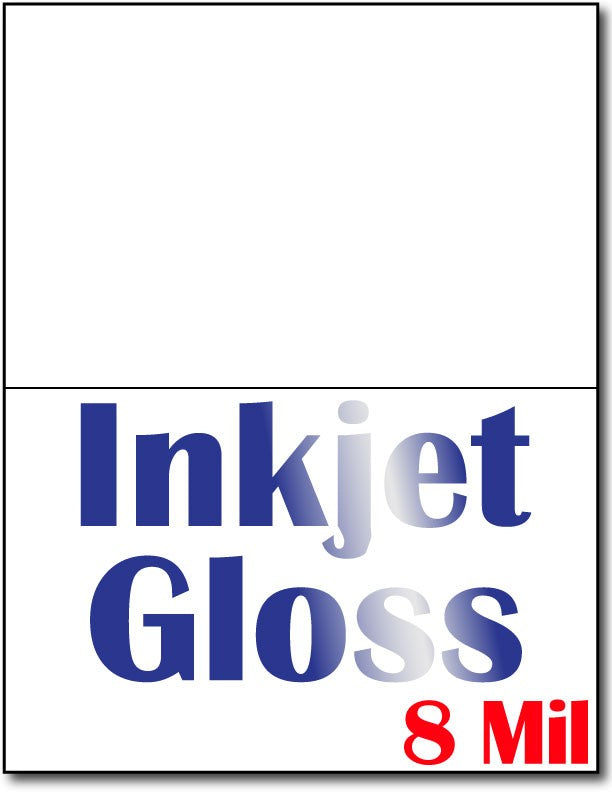 "8 mil Inkjet Gloss Half Fold Greeting Postcards, measure (4 1/4"" x 5 1/2"") , compatible  with inkjet, Full Gloss"