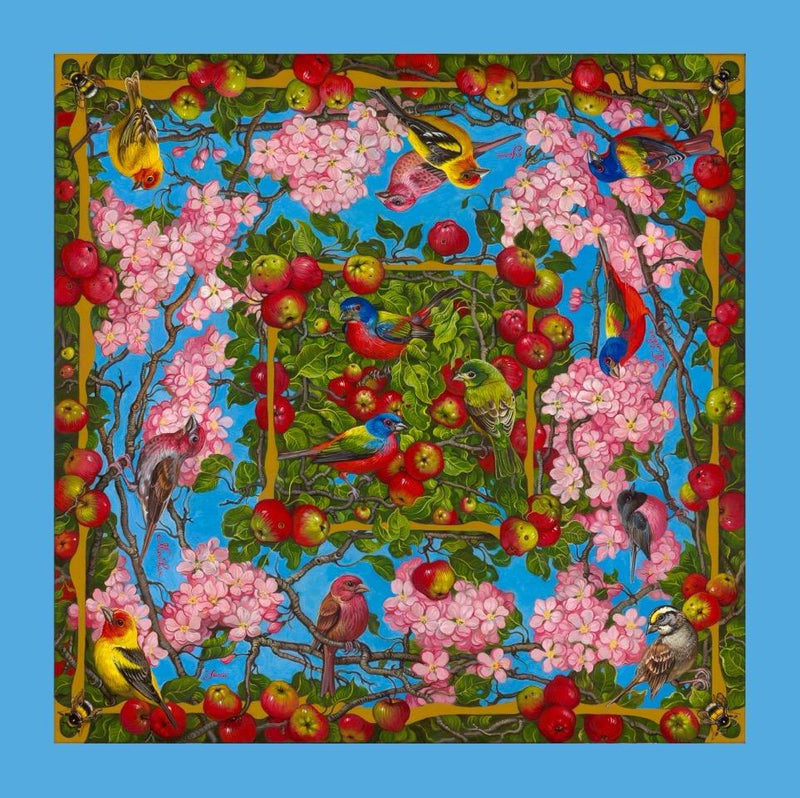 Spring Blossoms with Birds ( blue border )
