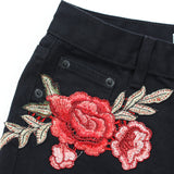 "Mini Short en denim avec broderies ""roses"" vintage - Shorts - THE FASHION PARADOX"