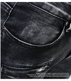 Jeans slim griffé grunge anthracite - Pantalons - THE FASHION PARADOX