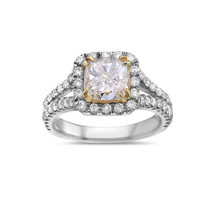 Ladies 18k White And Yellow Gold Halo With 2.97 CT Engagement Ring