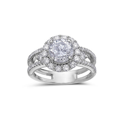 Ladies 18k White Gold Halo With 2.49 CT Engagement Ring