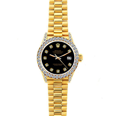 Rolex Datejust 26mm 18k Yellow Gold President Bracelet Black Dial w/ Diamond Bezel and Lugs