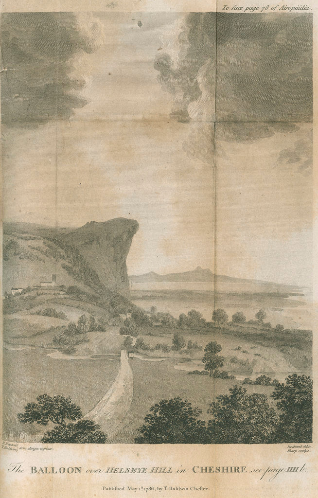 Detail of 'The balloon over Helsbye Hill in Cheshire' by William Sharp