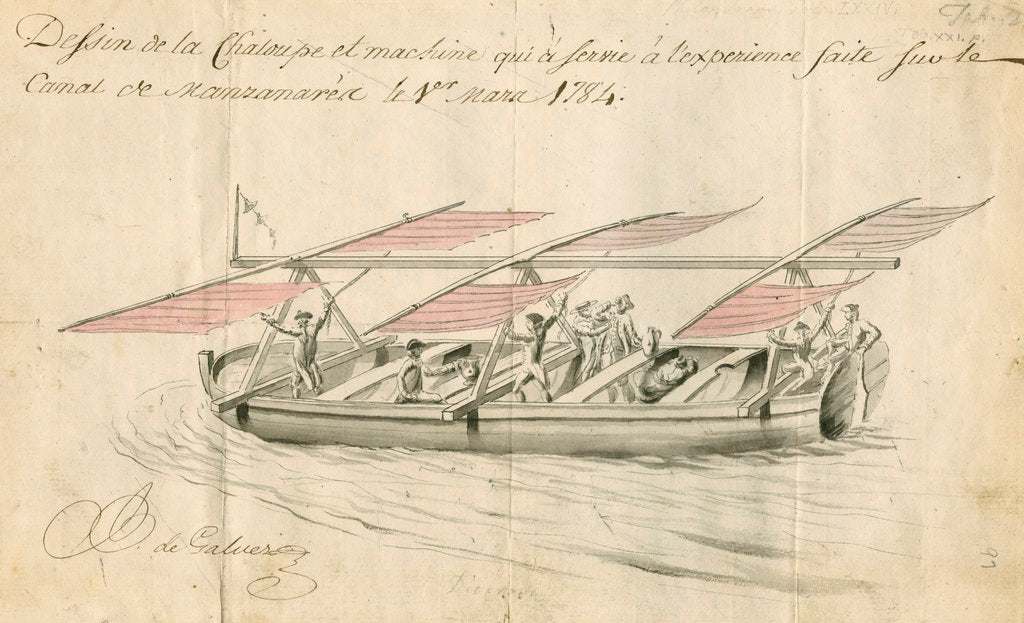 Detail of Boat sailed by aerostatic 'wings' by Anonymous