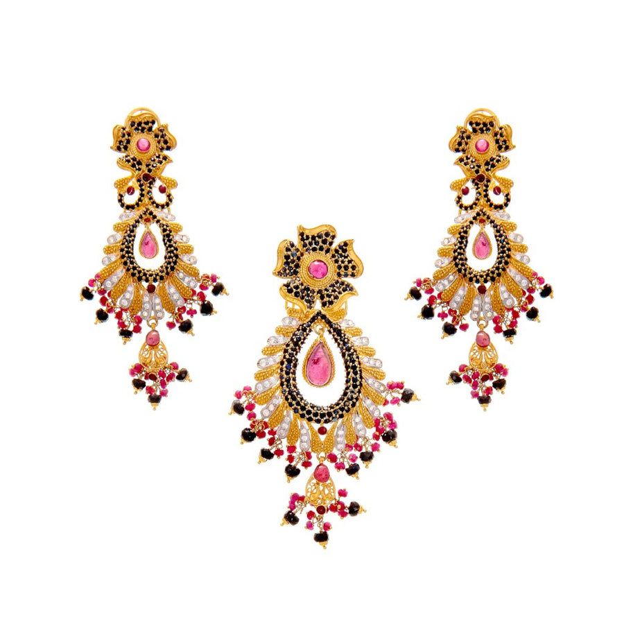 Eye catching pendant set with Rubies, Sapphires, and Cubic Zirconia made in 22k gold