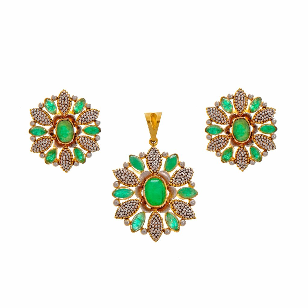 Handcrafted Emerald Pendant Set With Rhodium Polish in 22k Gold
