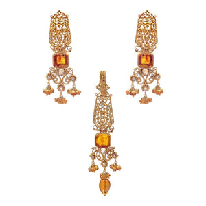 Charming Amber and Smokey Quartz Pendant Set made in 22k gold