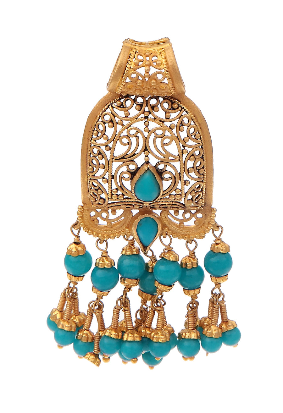 Graceful Gold and Turquoise Pendant Set made in 22k gold