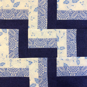 Roman Stripe Quilt Block in blues