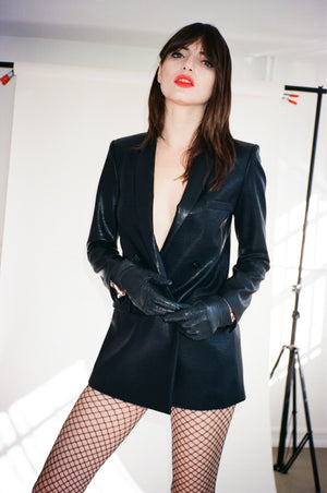 Vegan Leather Double-Breasted Jacket - L'école Des Femmes