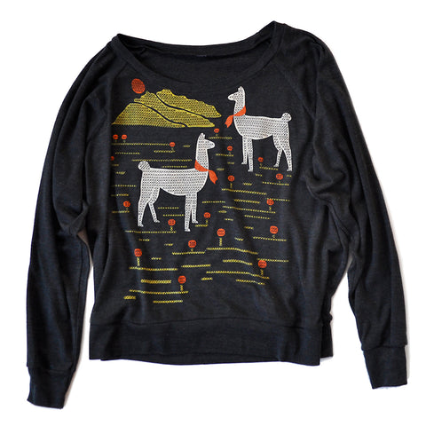 Llamas Screen Printed Long Sleeved Pullover