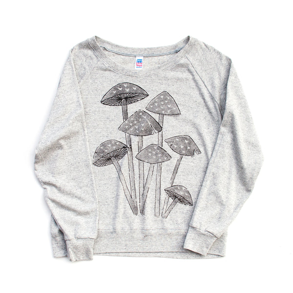 Mushroom Screen Printed Long Sleeved Pullover