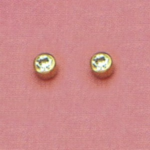 GOLD BEZEL APRIL (CLEAR) EAR PIERCING STUD 3MM, FOR SENSITVE EARS. SURGICAL STAINLESS STEEL. NICKEL & ALLERGY FREE.