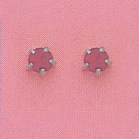 SINGLE SILVER PRONG JULY (RED) EAR PIERCING STUD 3MM, FOR SENSITIVE EARS. SURGICAL STAINLESS STEEL. NICKEL & ALLERGY FREE.