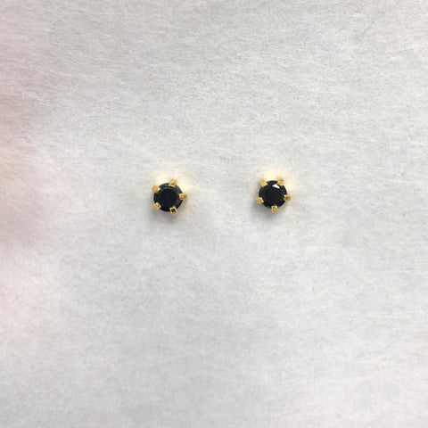 GOLD PRONG BLACK CUBIC ZIRCONIA EAR PIERCING STUD 3MM, FOR SENSITIVE EARS. SURGICAL STAINLESS STEEL. NICKEL & ALLERGY FREE.
