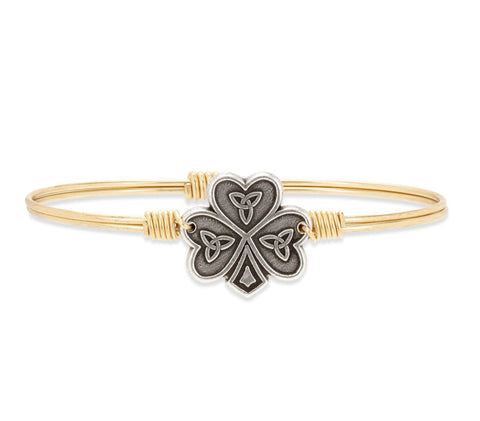 BRACELET-SHAMROCK BRASS BANGLE