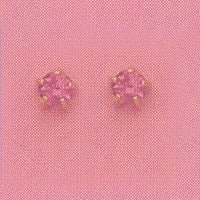 SINGLE GOLD PRONG OCTOBER (PINK) EAR PIERCING STUD 3MM, FOR SENSITVE EARS. SURGICAL STAINLESS STEEL. NICKEL & ALLERGY FREE.