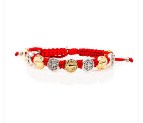 MIXED BENEDICTINE BLESSING BRACELET -RED