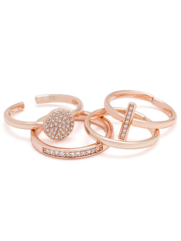 PAVE PEACE RING PACK-CZ/14K ROSE GOLD, ADJSTABLE