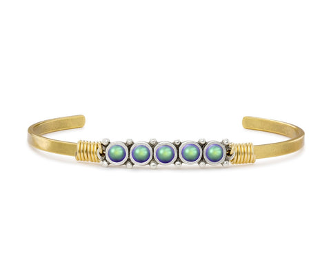 BRACELET- CRYSTAL PEARL GREEN GOLD