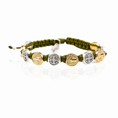 MIXED BENEDICTINE BLESSING BRACELET -OLIVE