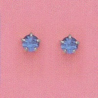 SILVER PRONG SEPTEMBER (DARK BLUE) EAR PIERCING STUD 3MM, FOR SENSITIVE EARS. SURGICAL STAINLESS STEEL. NICKEL & ALLERGY FREE.