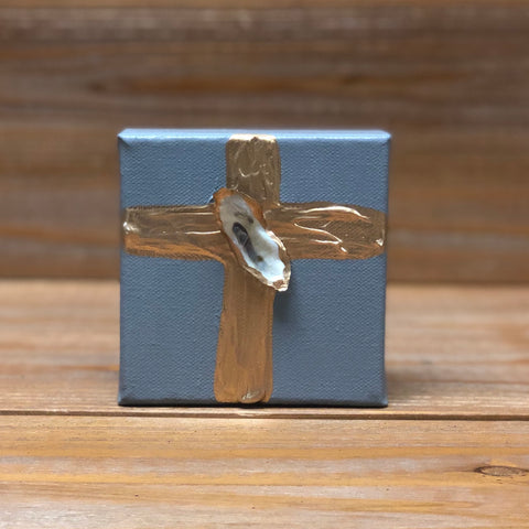 4X4 CANVAS SHELL GOLD CROSS/DK GREY