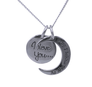 "Engraved Moon Pendant & Chain "" I Love You to the Moon and Back"" p 07-5-05-18"