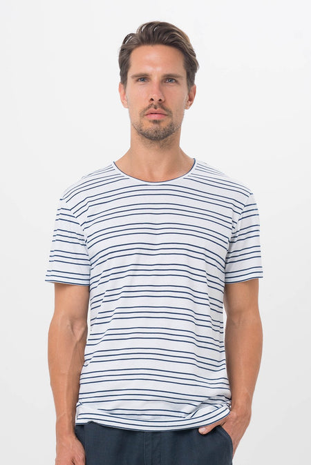 Men's T-Shirt L/S Navy Stripe
