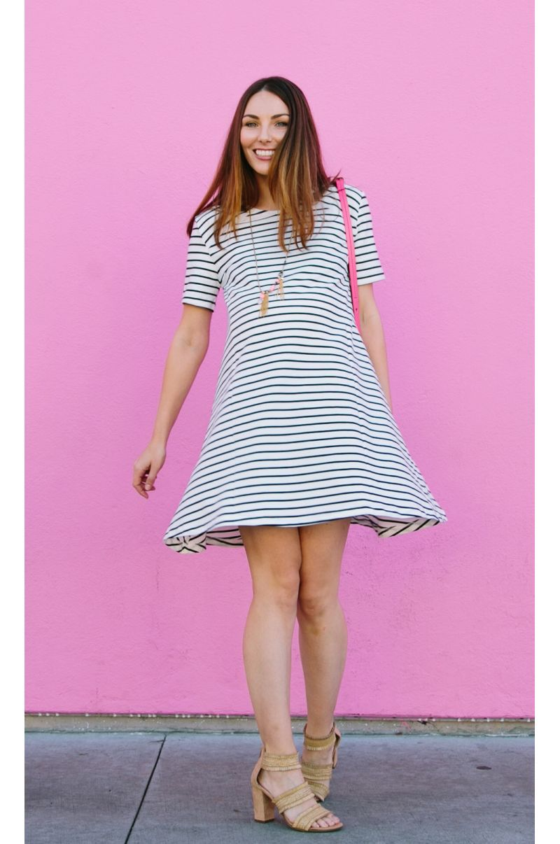 Striped A-line Maternity and Nursing Dress