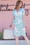 Knee length, teal palm print Siesta Beach Dress