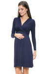 Long Sleeve Front Twisted Maternity and Nursing Dress