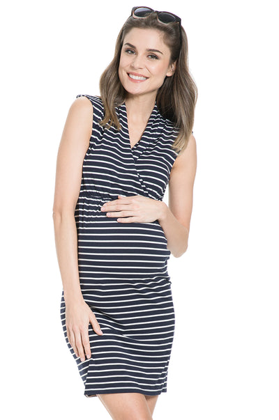 Milos Maternity and Nursing Dress with Navy and White Striped