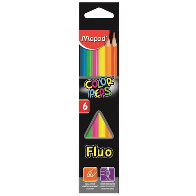 Pack de LAPICES FLUOR MAPED TRIANGULAR 6uds