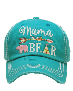 Adjustable Mama Bear Aztec Arrow Tepee Western Cap Hat Black Pink or Turquoise Blue