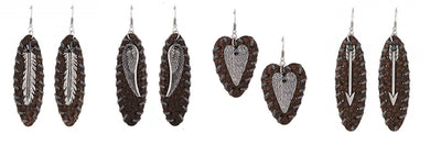 Woven Leather Western Cowgirl Earrings Brown Feather Wings Arrow or Heart
