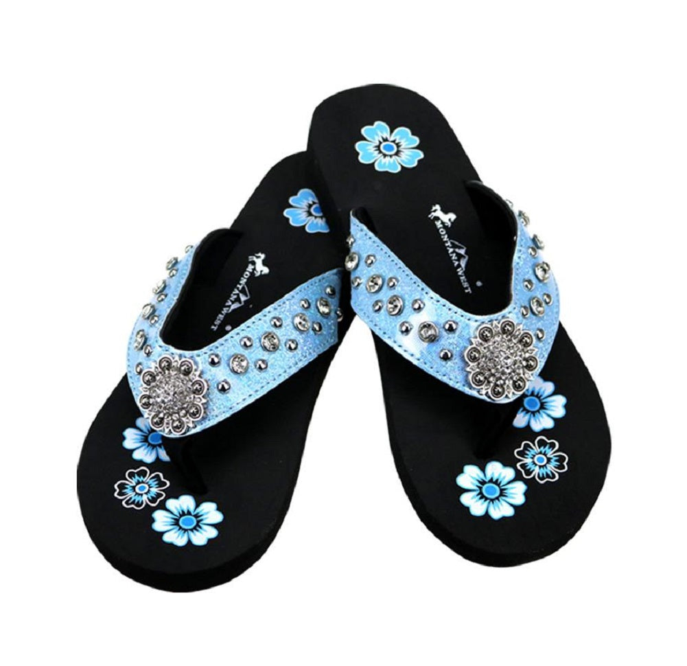 Montana West Thin Sole Rhinestone Concho Flip Flops Sandals Blue