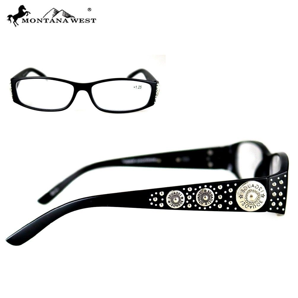 Montana West 12 GA Bullet Concho Ladies Reading Glasses Black + Case and Cloth