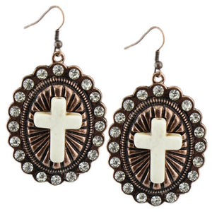 Rhinestone Turquoise Cross Earrings Western Womens Jewelry Coppertone