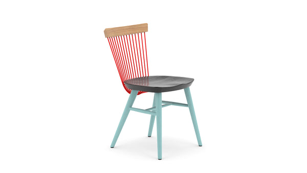 WW Dining Chair CS3 - Oak, Blue & Red Contract Standard Modern Dining Chair - Hayche